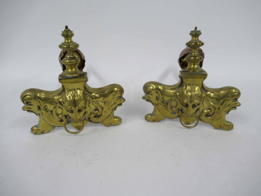 Pair of Brass Fire Dogs