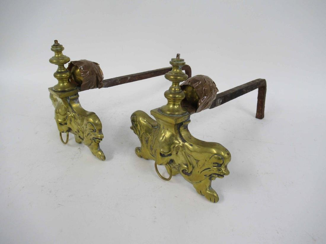 Pair of Brass Fire Dogs - 2