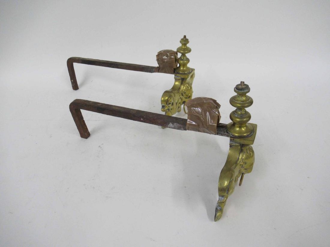 Pair of Brass Fire Dogs - 3