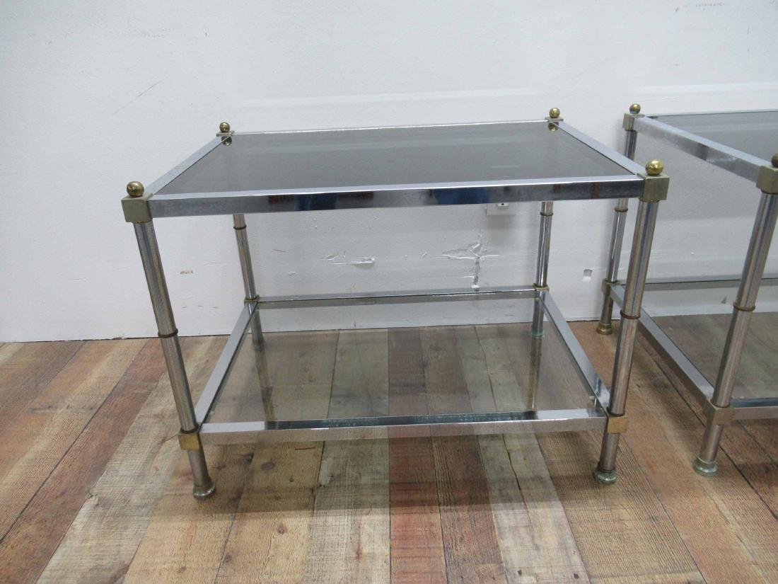 Pair of Chrome and Brass End Tables - 2