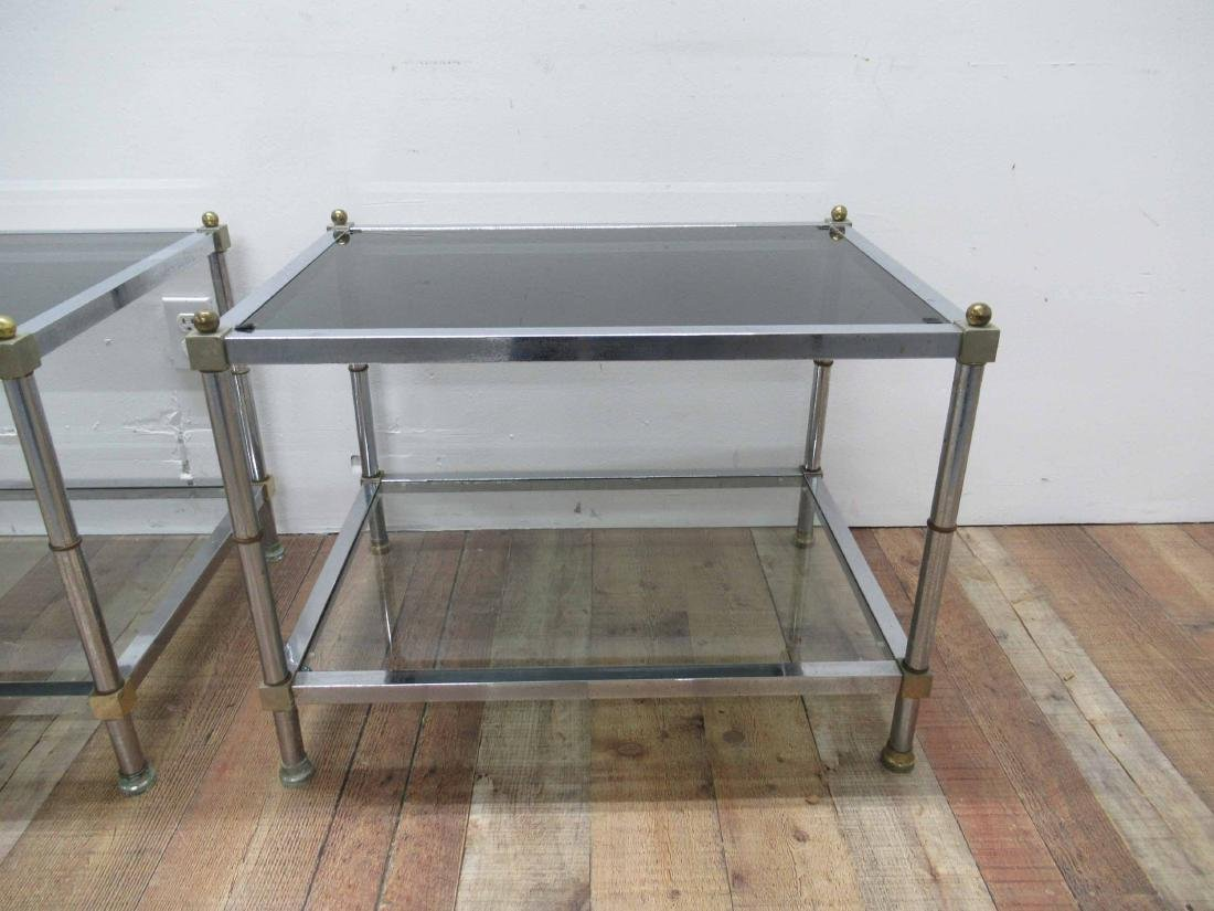 Pair of Chrome and Brass End Tables - 3