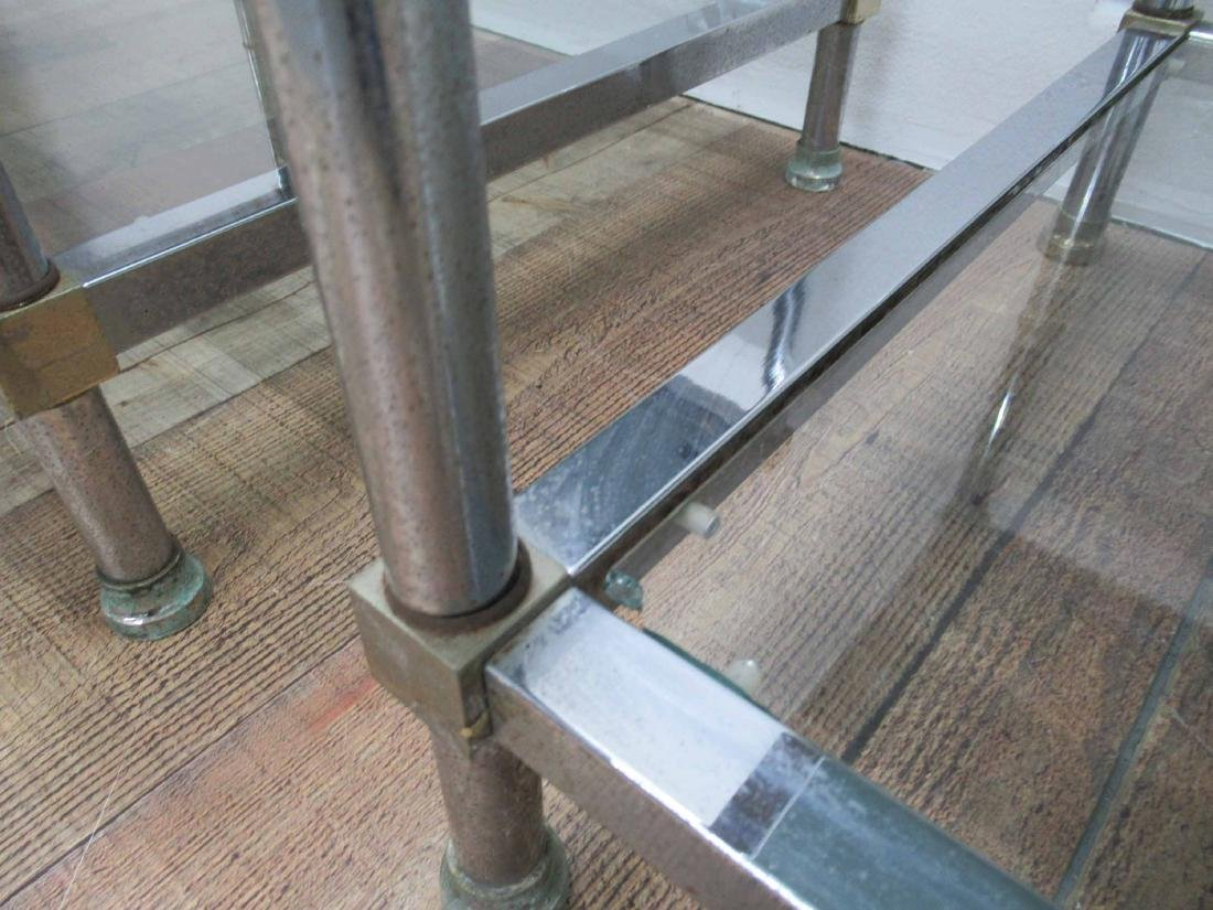 Pair of Chrome and Brass End Tables - 5