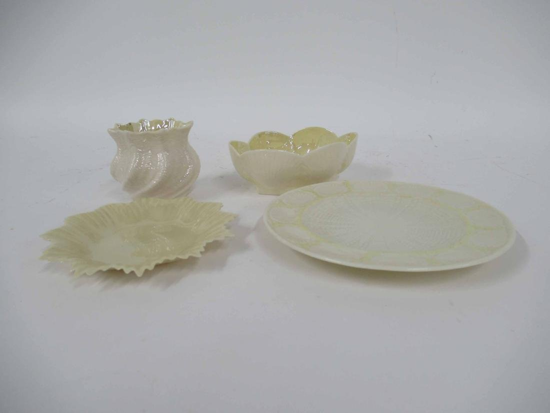 FOUR ASSORTED BELLEEK TABLE ARTICLES
