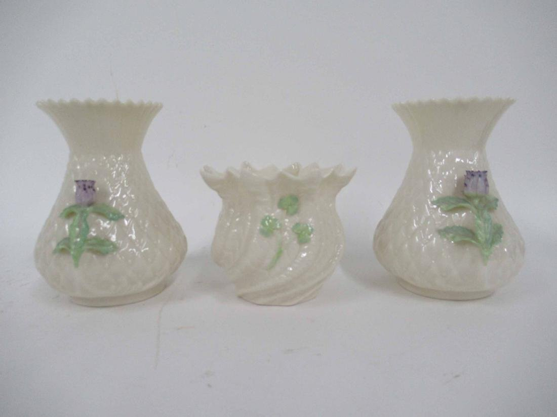 PAIR OF BELLEEK SHORT VASES