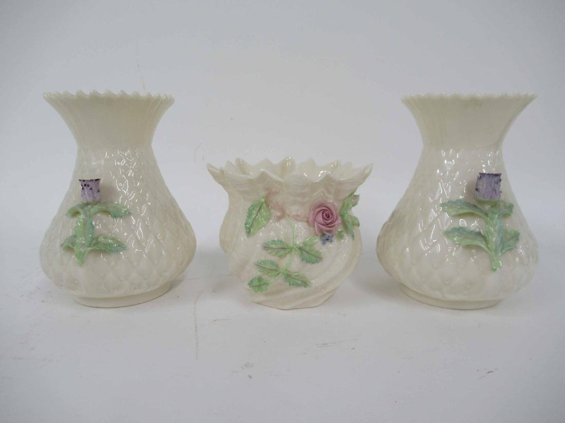 PAIR OF BELLEEK SHORT VASES - 2