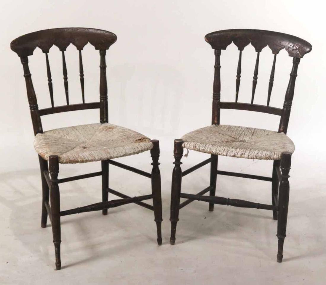 Pair of Paint-Decorated Rush-Seat Side Chairs