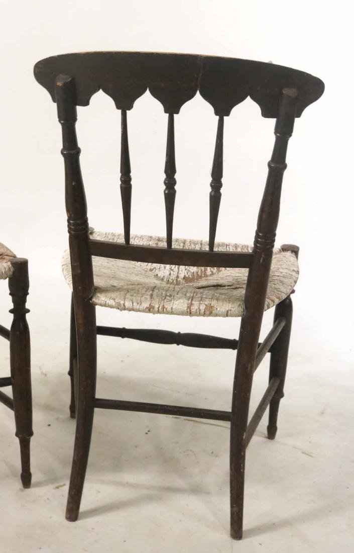 Pair of Paint-Decorated Rush-Seat Side Chairs - 7