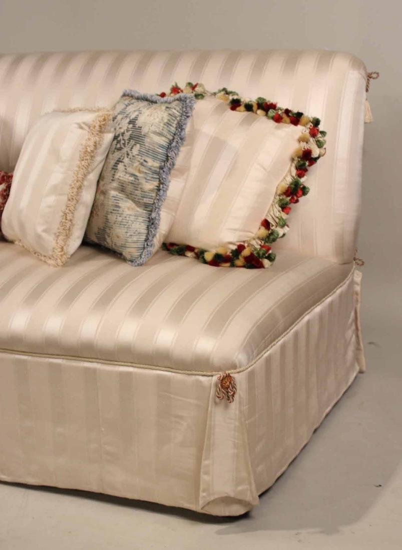 Contemporary White-Upholstered Armless Sofa - 2