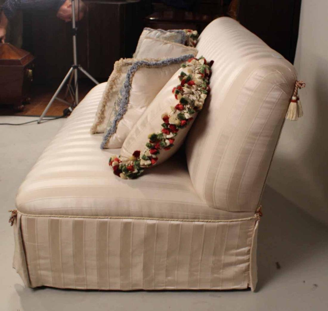 Contemporary White-Upholstered Armless Sofa - 4