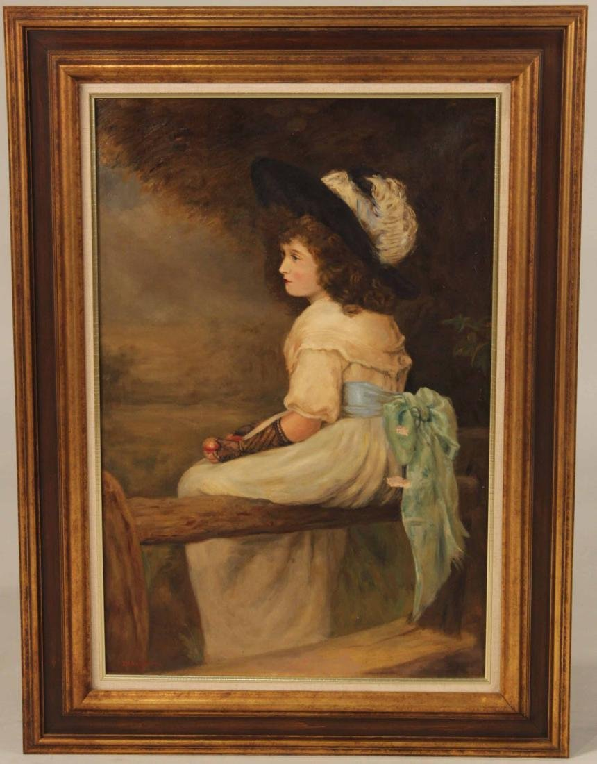Oil on Canvas, Portrait of Seated Girl
