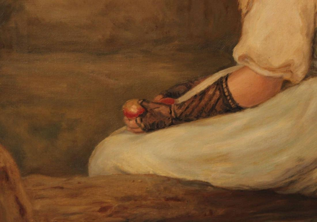Oil on Canvas, Portrait of Seated Girl - 3