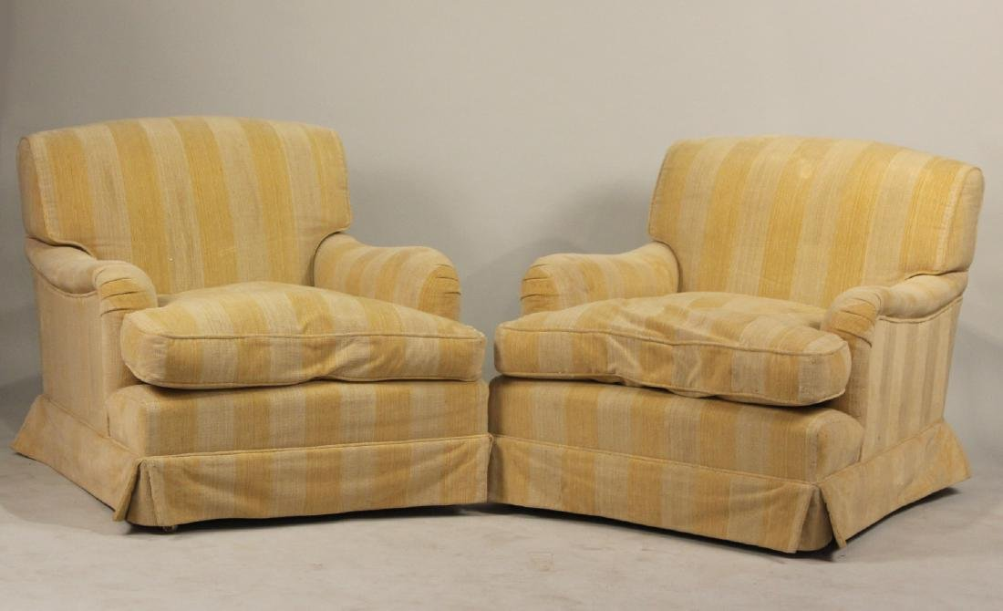 Pair of Oversized Modern Beige Club Chairs