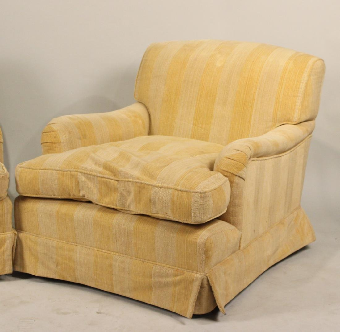 Pair of Oversized Modern Beige Club Chairs - 2