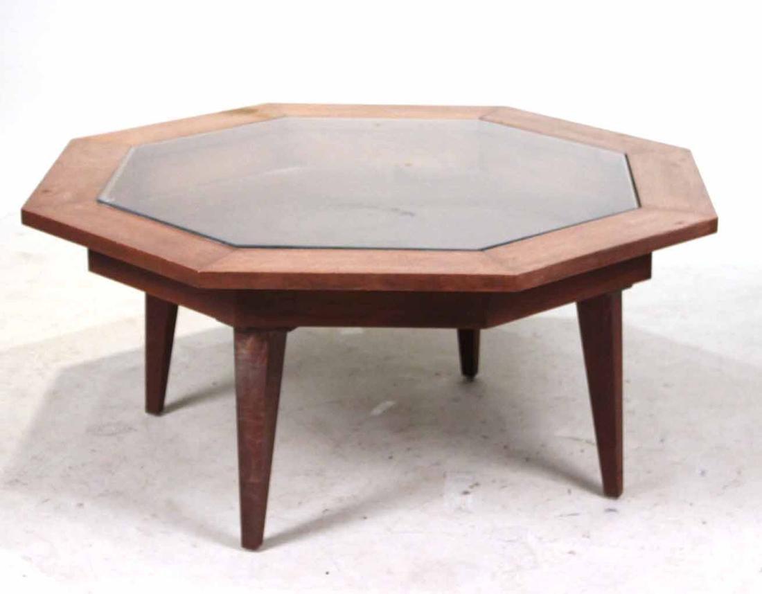 Octagonal Walnut Vitrine Table