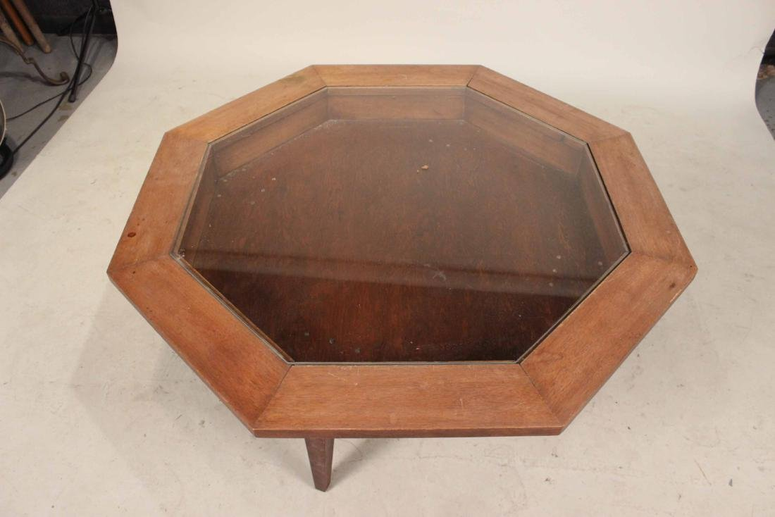 Octagonal Walnut Vitrine Table - 2