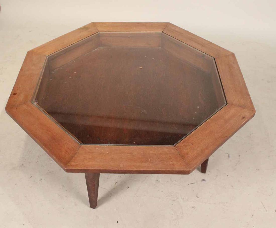 Octagonal Walnut Vitrine Table - 3