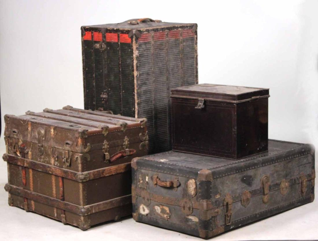 Three Metal-Mounted Steamer Trunks