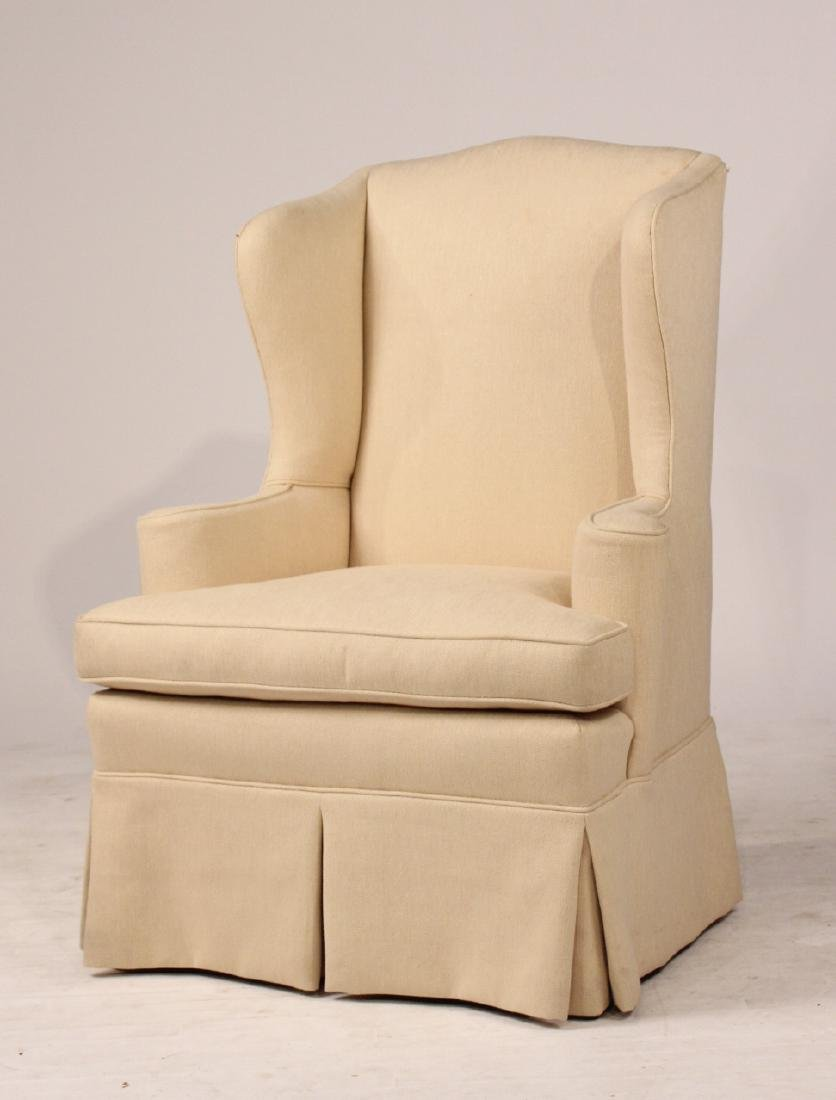 Chippendale Style Upholstered Wing Back Chair