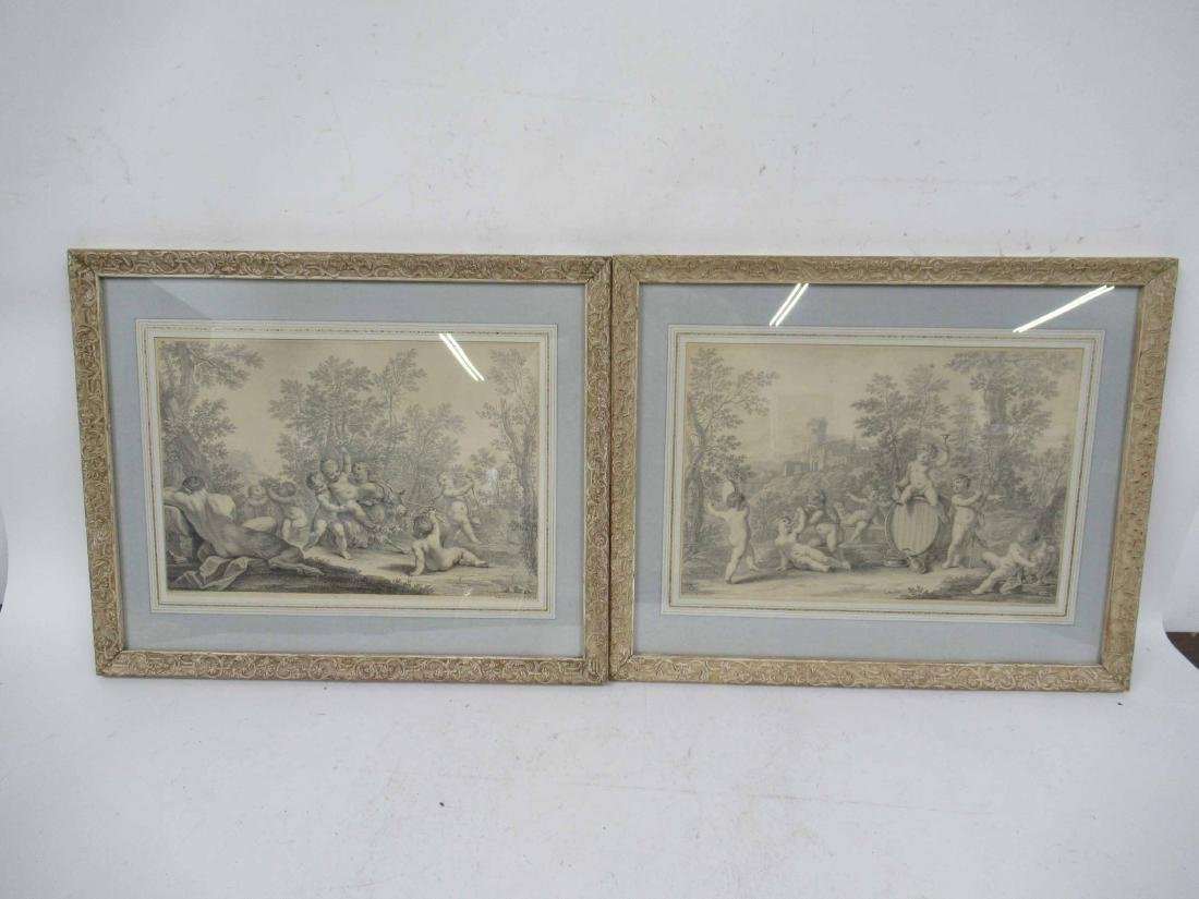 Pair of Etchings, Classical Scene with Putti