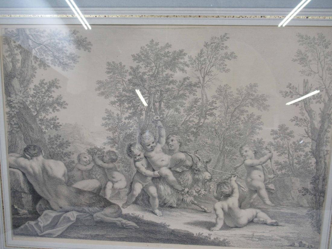 Pair of Etchings, Classical Scene with Putti - 2