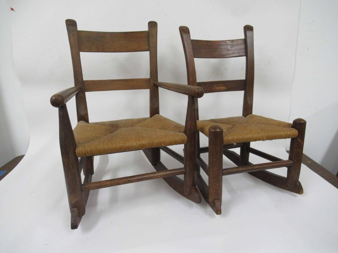Two Child's Rush Rocking Armchairs