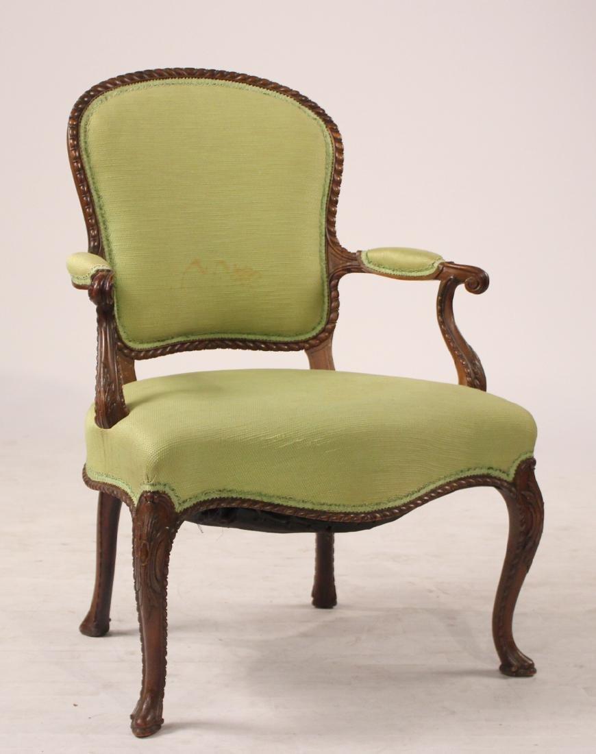 George III Style Mahogany Open Armchair