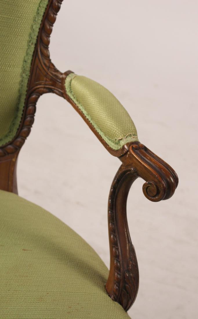 George III Style Mahogany Open Armchair - 2