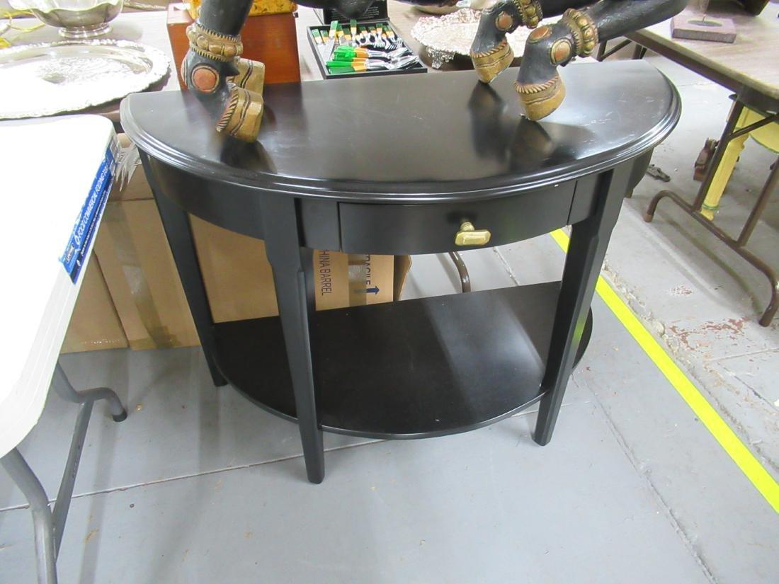 Pair of Contemporary Black Demi-Lune Pier Tables - 3