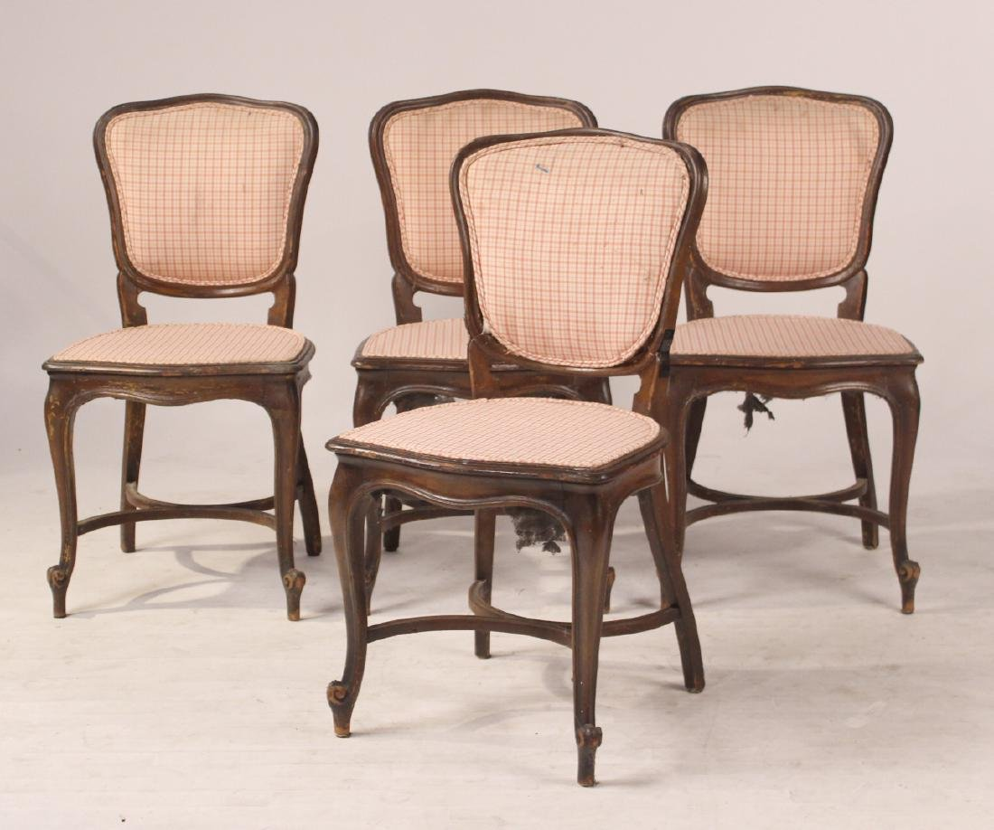 Four Louis XV Style Mahogany Side Chairs