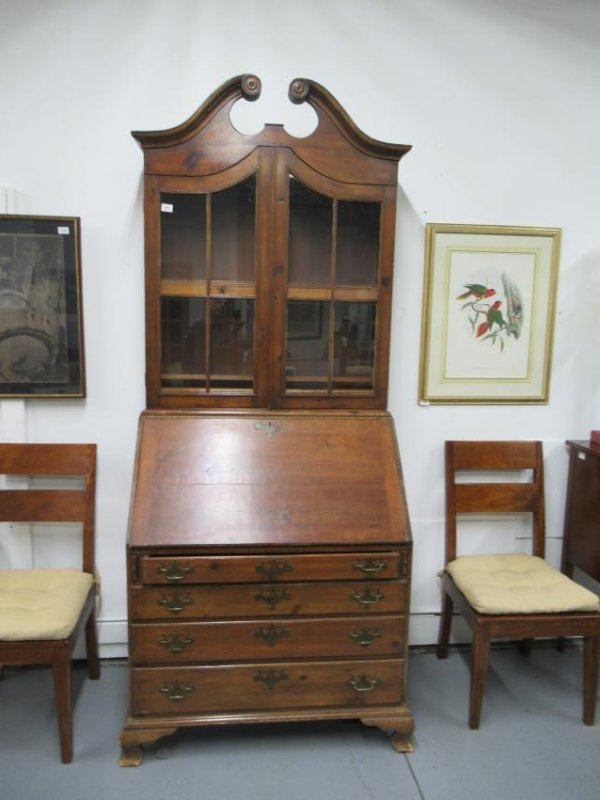 Chippendale Style Pine Desk-and-Bookcase