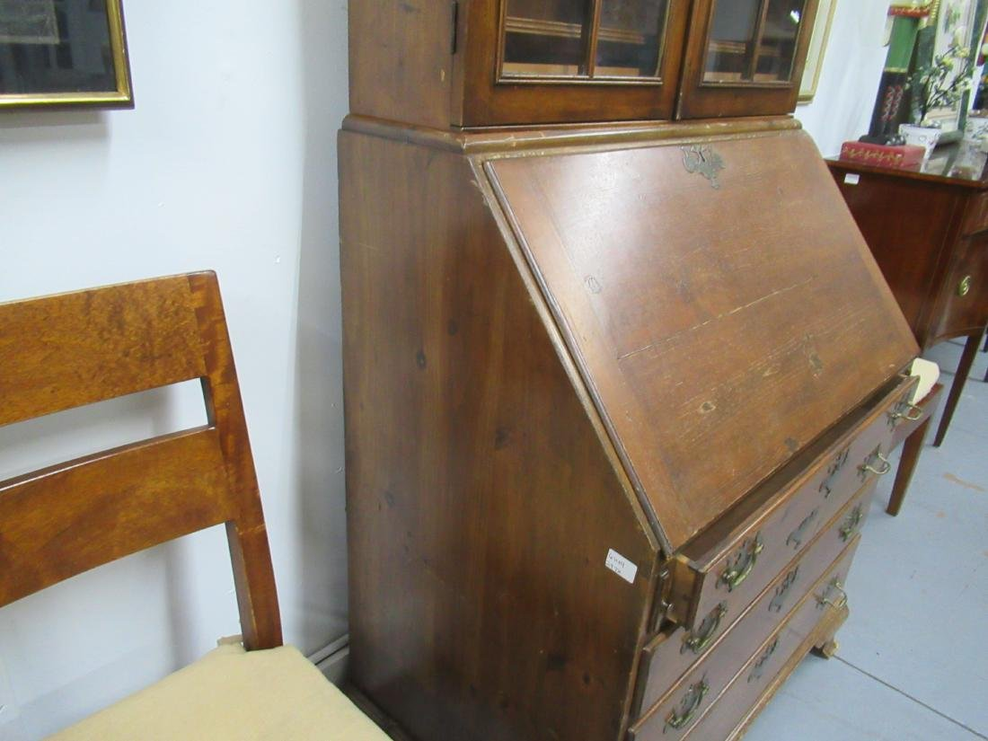 Chippendale Style Pine Desk-and-Bookcase - 3