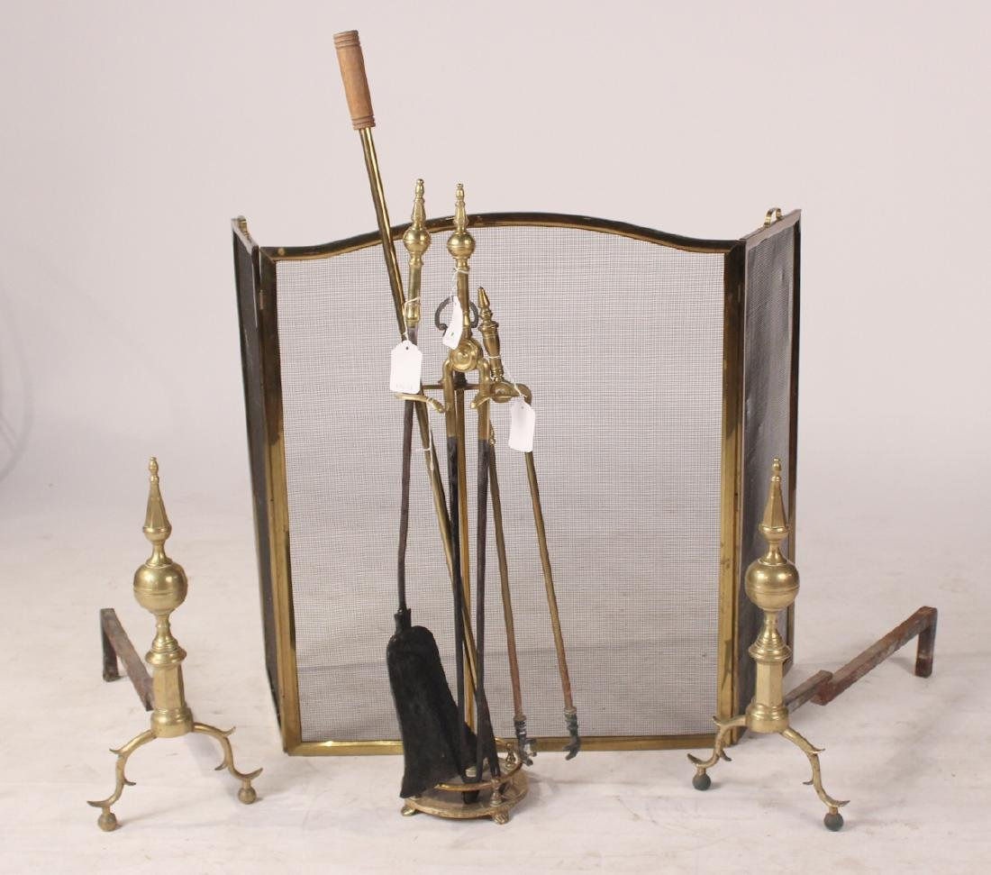 Pair of Federal Cast-Brass Andirons