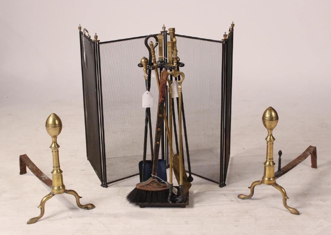 Set of Federal Cast-Brass Lemon-Top Andirons