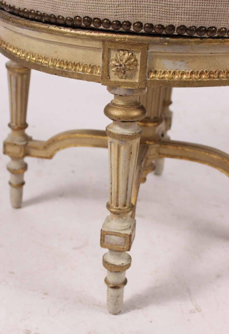 Louis XVI Style Parcel-Gilt and Painted Stool - 4
