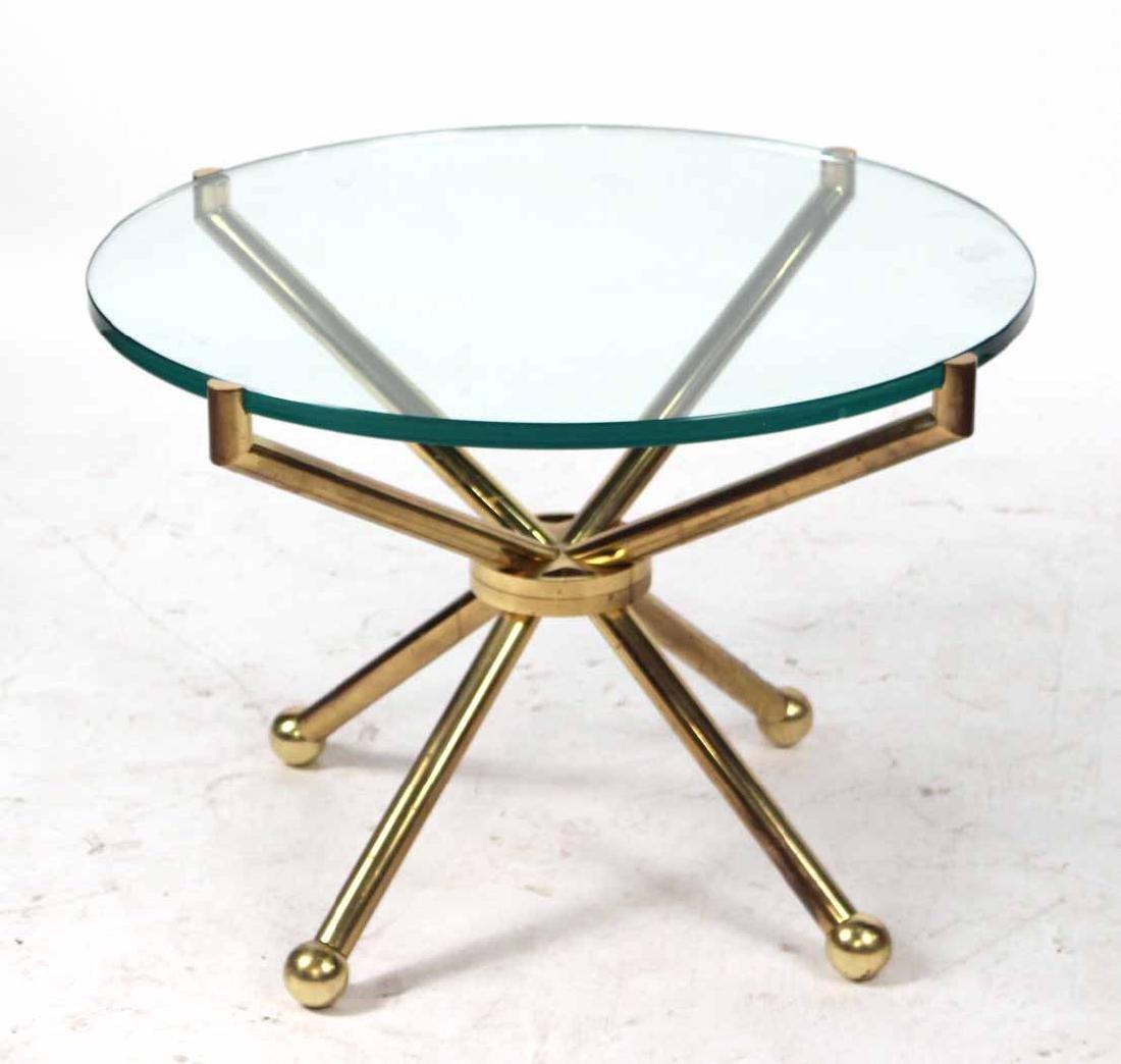Modern Glass Top Brass Circular Table