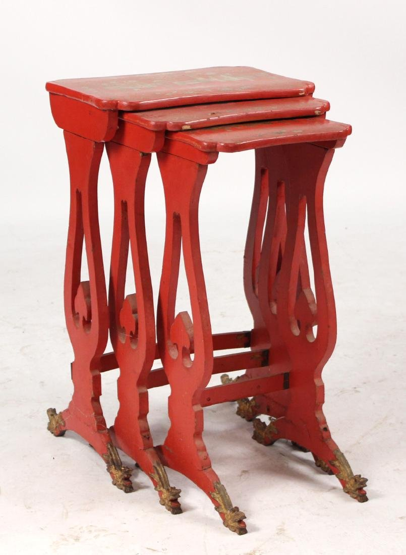 Three Chinese Red-Lacquer Nesting Tables