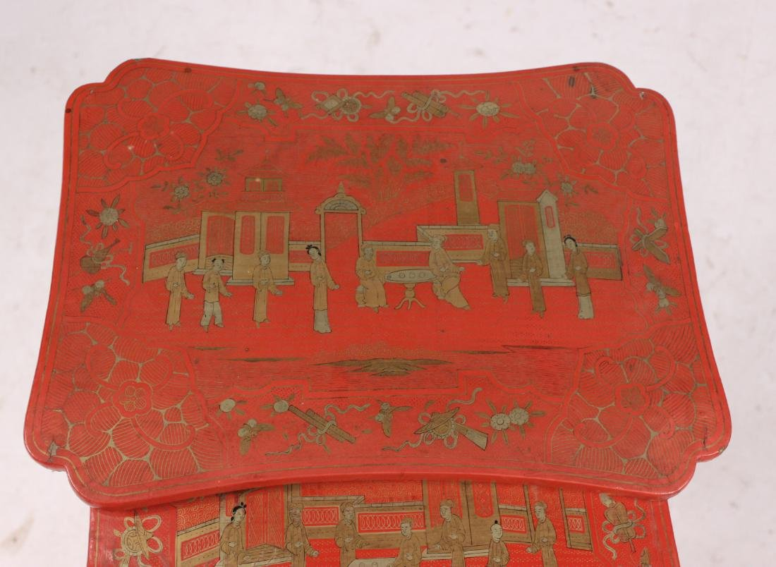 Three Chinese Red-Lacquer Nesting Tables - 3