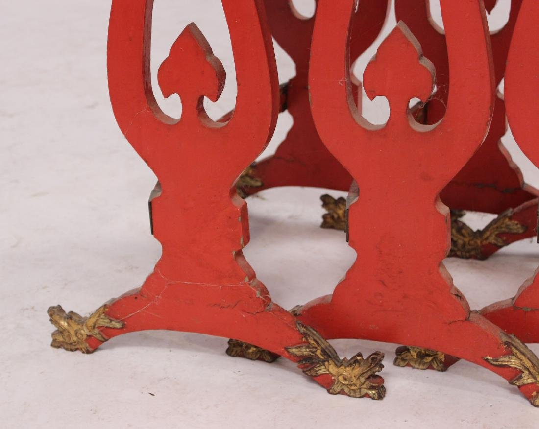 Three Chinese Red-Lacquer Nesting Tables - 4