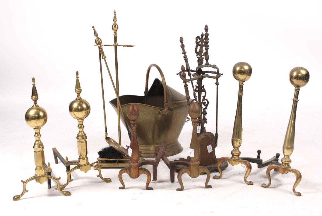 Group of Brass Fireplace Equipment