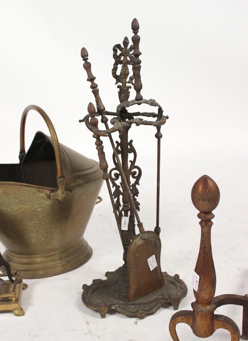 Group of Brass Fireplace Equipment - 5