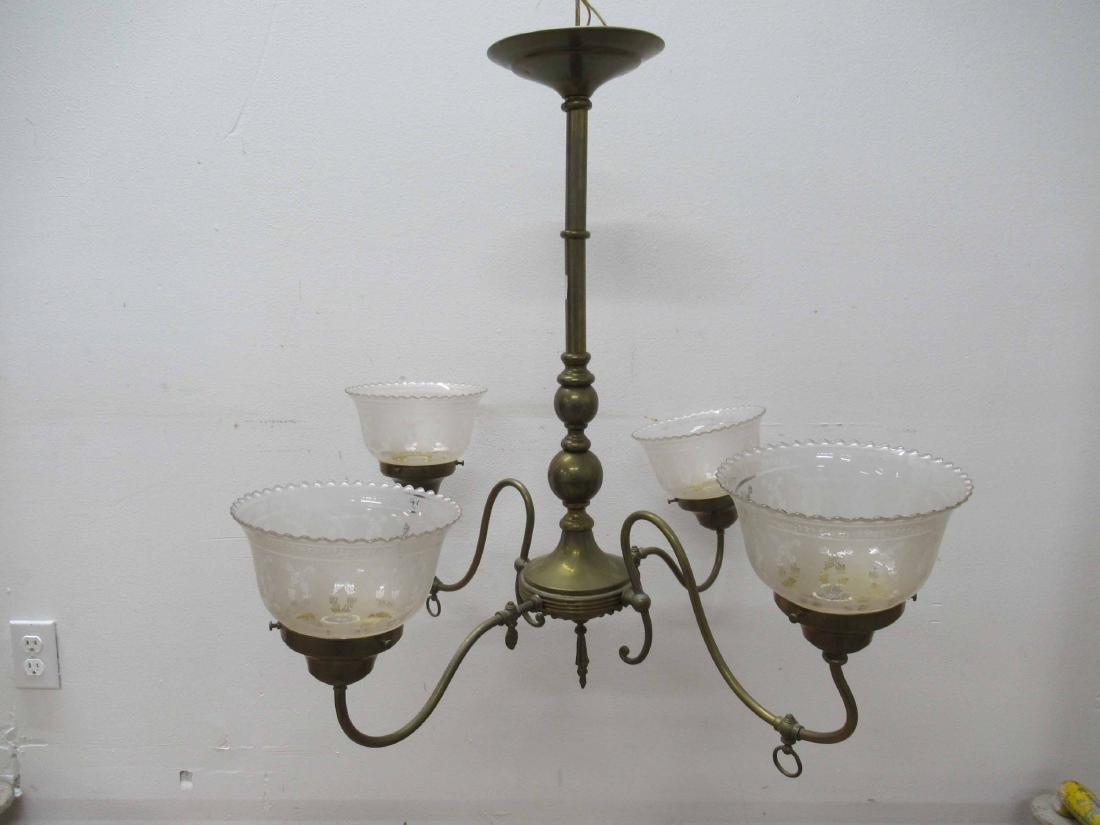 Antique Brass Four Light Chandelier