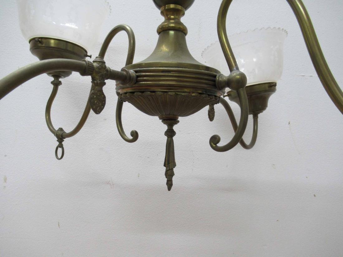 Antique Brass Four Light Chandelier - 2