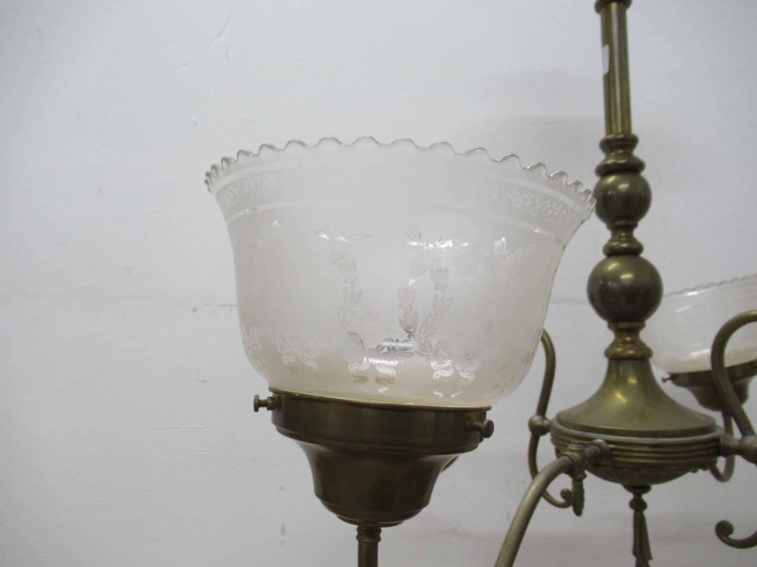 Antique Brass Four Light Chandelier - 3