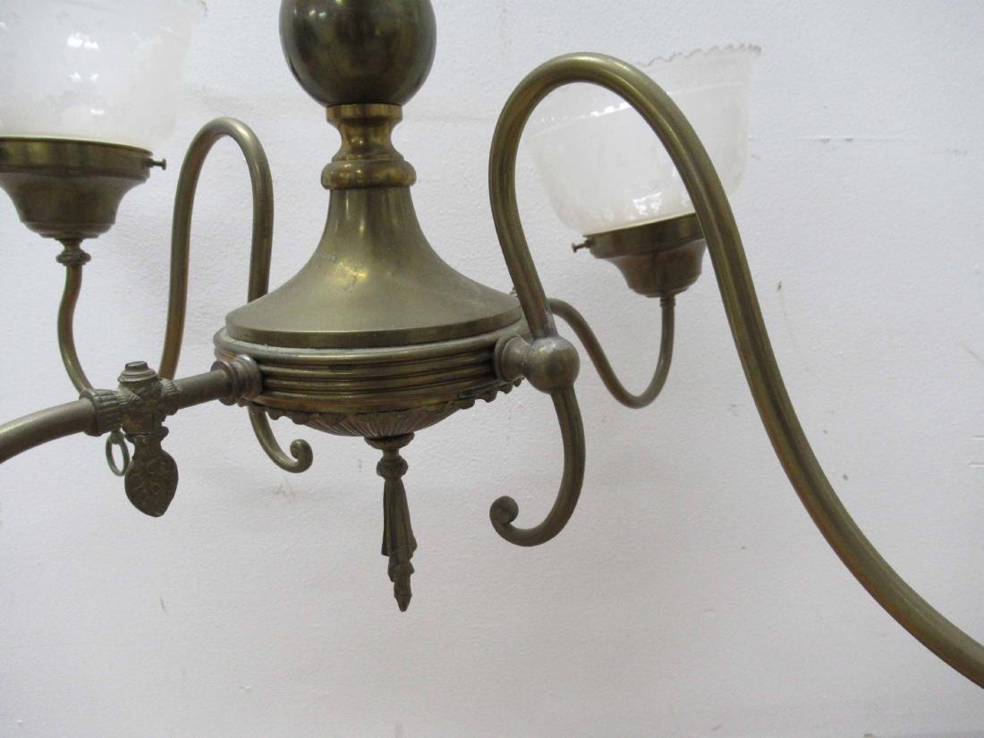 Antique Brass Four Light Chandelier - 5