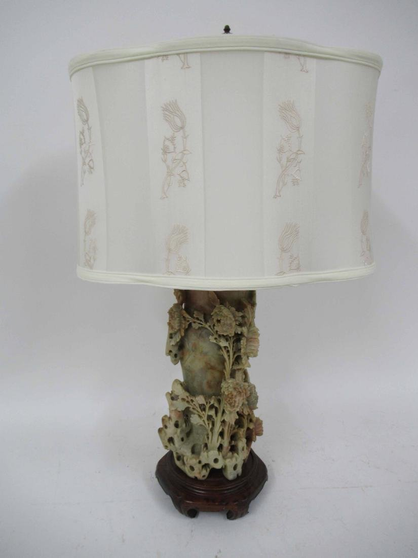 Chinese Carved Soapstone Table Lamp