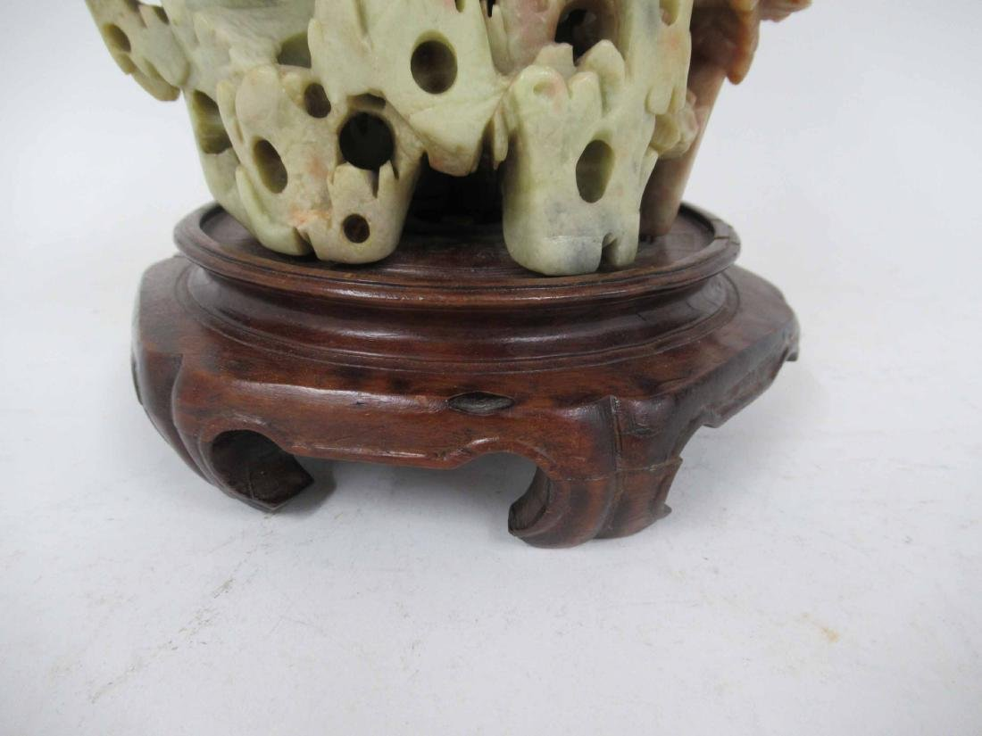 Chinese Carved Soapstone Table Lamp - 3