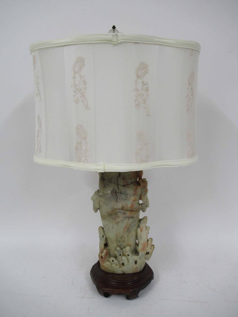 Chinese Carved Soapstone Table Lamp - 4
