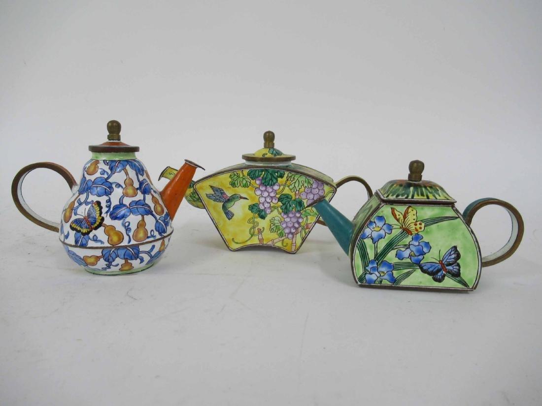 Three Kelvin Chen Enameled Tea Pots