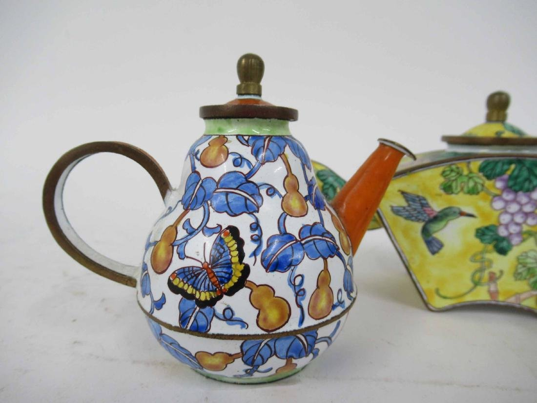 Three Kelvin Chen Enameled Tea Pots - 2
