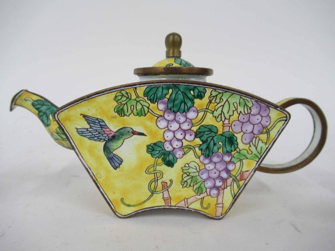 Three Kelvin Chen Enameled Tea Pots - 3